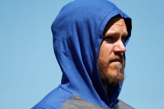 New York Mets pitcher Noah Syndergaard is seen before the start a spring training baseball game against the St. Louis Cardinals Friday, Feb. 28, 2020, in Port St. Lucie, Fla.