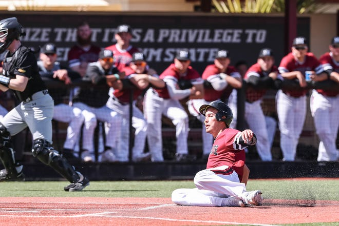 The New Mexico State Men's Baseball team faces off against Purdue Fort Wayne in the first game of a double header at Presley Askew Field in Las Cruces on Saturday, Feb. 29, 2020.