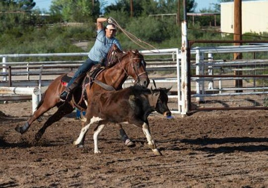 Keylie Kemple, New Mexico State University rodeo team member, ropes a steer during practice. The rodeo team will compete in its spring opener March 7 in Casa Grande, Arizona.