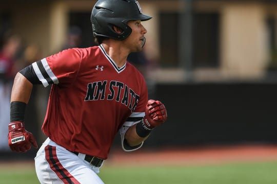 NMSU junior NickGonzales runs the bases as the New Mexico State Men's Baseball team faces off against Purdue Fort Wayne in the first game of a double header at Presley Askew Field in Las Cruces on Saturday, Feb. 29, 2020.