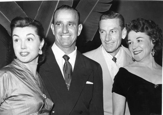 Mr. and Mrs. Ben Gage (Esther Williams), Hoagy Carmichael., second from right, with an unidentified woman.