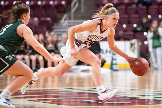 Gettysburg's Anne Bair dribbles down court in the District 3 Class 5A championship game against Twin Valley at the Giant Center in Hershey on Friday, Feb. 28, 2020. The Warriors won, 46-40.