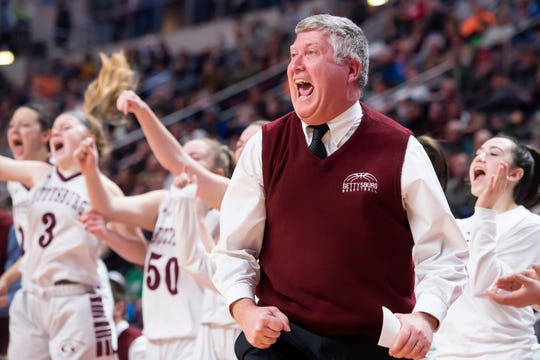 Gettysburg's head coach Jeff Bair reacts as Anne Bair gets the bucket and one during the District 3 Class 5A championship game against Twin Valley at the Giant Center in Hershey on Friday, Feb. 28, 2020. The Warriors won, 46-40.