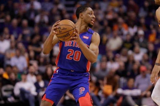 Detroit Pistons guard Brandon Knight (20) against the Phoenix Suns during the first half of an NBA game, Friday, Feb. 28, 2020, in Phoenix. (AP Photo/Matt York)
