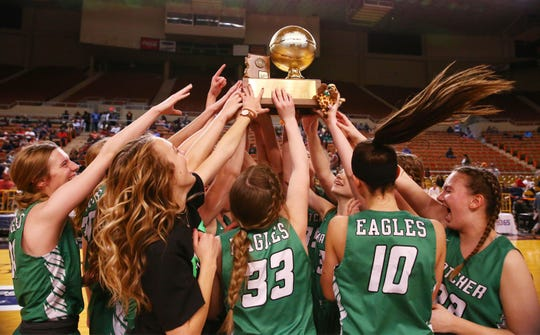 Thatcher High celebrates after defeating Camp Verde High to win the 2A Girls basketball final at Veterans Memorial Coliseum on Feb. 29, 2020 in Phoenix, Ariz.