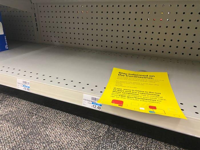 Coronavirus fears empty store shelves of toilet paper, bottled water, masks as shoppers stock up