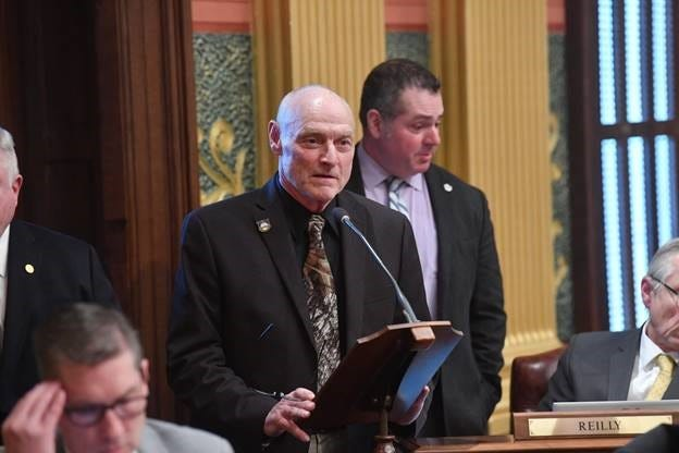 State Rep. Gary Eisen, R-St. Clair Township, speaks in support of House Resolution 227 on Tuesday, Feb. 25, 2020, in the Michigan House chamber.