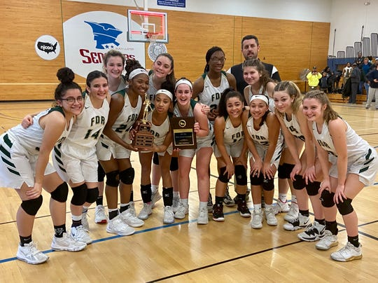 The Franklin D. Roosevelt girls basketball team poses after winning the Mid-Hudson Athletic League title on Feb. 28.