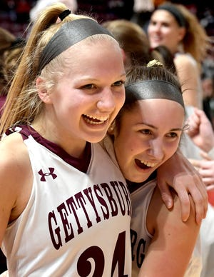Anne Bair, left, and Camryn Felix have helped Gettysburg earn the No. 3 ranking in Class 5-A in the latest state girls' basketball rankings.