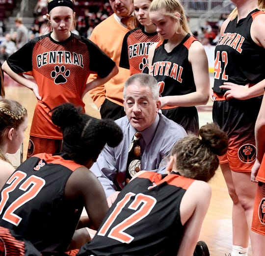 Central York coach Scott Wisner talks to his team during a timeout against Central Dauphin's Caroline Shiery during District 3 Class 6-A girls' basketball final action at the Giant Center Saturday, Feb. 29, 2020. Central lost the title game 40-36. Bill Kalina photo