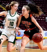 Central York's Bella Chimienti drives with Central Dauphin's Megan Cavoli defending during District 3 Class 6-A girls' basketball final action at the Giant Center Saturday, Feb. 29, 2020. Central would lose the title game 40-36. Bill Kalina photo