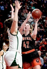 Central York's Emily Prowell, seen here at right in a file photo, scored 14 points on Tuesday night in the Panthers' win over Central Bucks East.