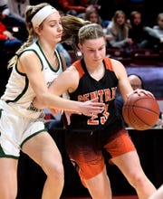 Central York's Sarah Berman drives by Central Dauphin's Izzy Vogel during District 3 Class 6-A girls' basketball final action at the Giant Center Saturday, Feb. 29, 2020. Central lost the title game 40-36. Bill Kalina photo