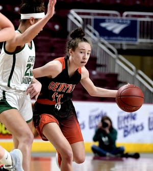 Central York's Bella Chimienti, seen here in a file photo from 2020, scored 15 points for the Panthers in Thursday's victory over Dallastown.