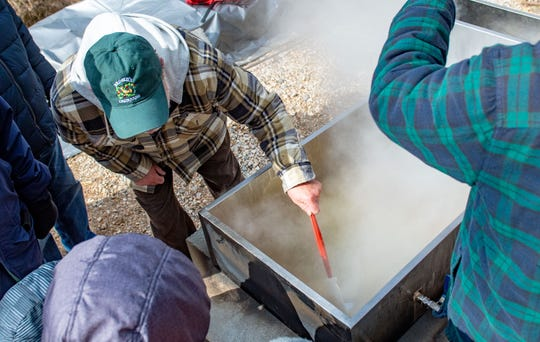 Sap is being boiled for all to see during the York County Department of Parks and Recreation's Maple Sugar Festival Days, where visitors learn about the syrup-making process.