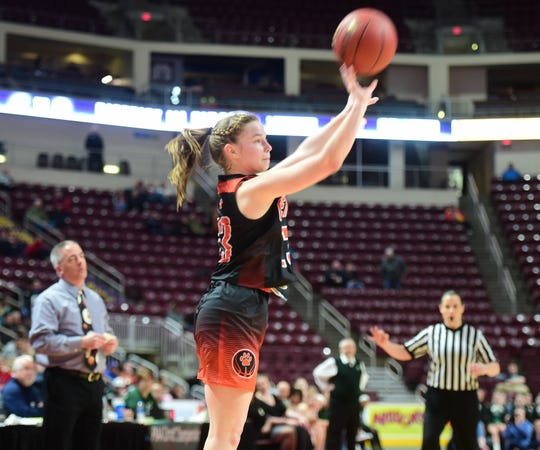 Central York's Sarah Berman takes a 3-pointer in the second half of Saturday's game. Berman scored 11 points and made three 3-pointers in the contest. Central Dauphin defeated Central York, 40-36, in the District 3 Class 6A title game at Hershey's Giant Center Saturday.