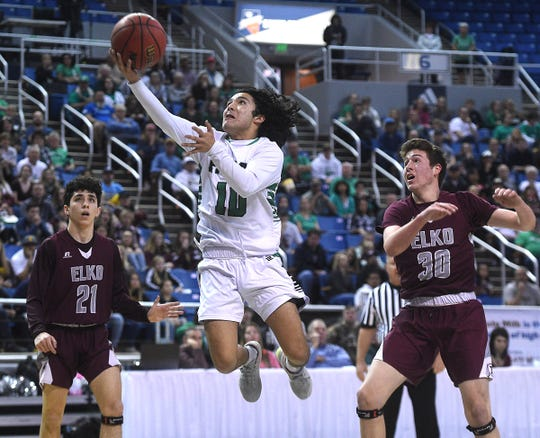 Fallon's Anthony Geer shoots while taking on Elko duding their NIAA 3A Boys Basketball championship game at Lawlor Events Center in Reno on Feb. 28, 2020.