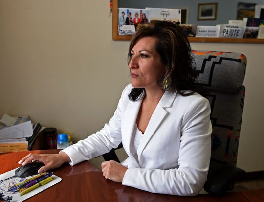 Amber Torres, Chair at the Walker River Paiute Tribe, sits in her office at the Walker River Paiute Tribal Administrative Offices in Schurz, Nevada on Feb. 28, 2020.