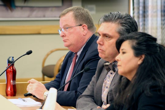 Three officials of the Oregon Health Authority testified on Feb. 28, 2020, before a legislative committee on preparations for a possible outbreak of coronavirus, including, from left, OHA Director Patrick Allen, state epidemiologist Dr. Dean Sidelinger and Akiko Saito, section manager of health security, preparedness and response.