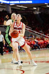Ciara Duffy goes up for two in USD's win over North Dakota on Saturday at the SCSC.