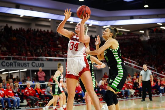 South Dakota's Hannah Sjerven goes up for a basket during her team's win over North Dakota on Saturday at the SCSC.