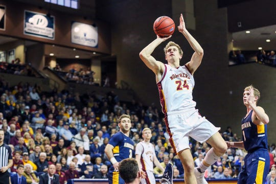 Parker Fox of Northern State takes a shot during his team's NSIC tournament win over Augustana on Saturday at the Pentagon.
