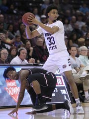 Missouri State's Josh Hall looks for an open teammate against Southern Illinois at JQH Arena on February 29, 2020.