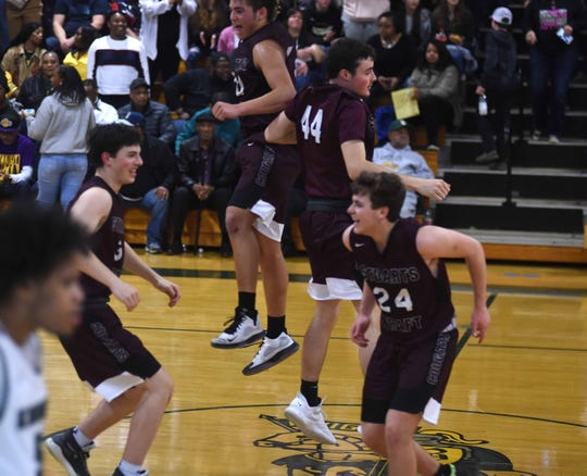 Stuarts Draft players celebrate winning the Region 2B semifinals Friday at Buckingham and earning a spot in the state tournament.