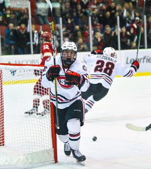 St. Cloud State's Jami Krannila celebrates following a goal during the first period of the Friday, Feb. 28, 2020, game at the Herb Brooks National Hockey Center in St. Cloud.