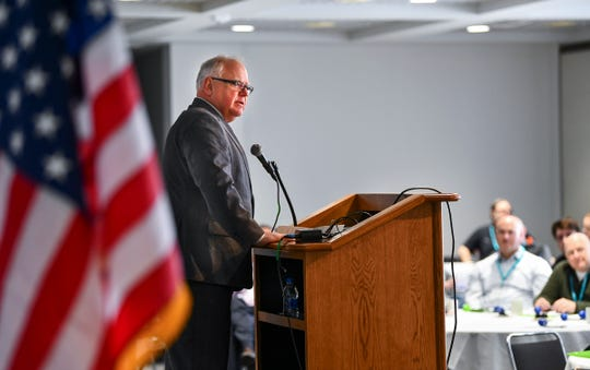 Gov. Tim Walz speaks during the Minnesota Police and Peace Officers Association annual legislative conference Saturday, Feb. 29, 2019, at the River's Edge Convention Center in St. Cloud.
