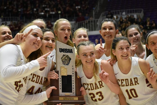 Cedar repeated as 4A state champions, defeating Pine View 61-44.