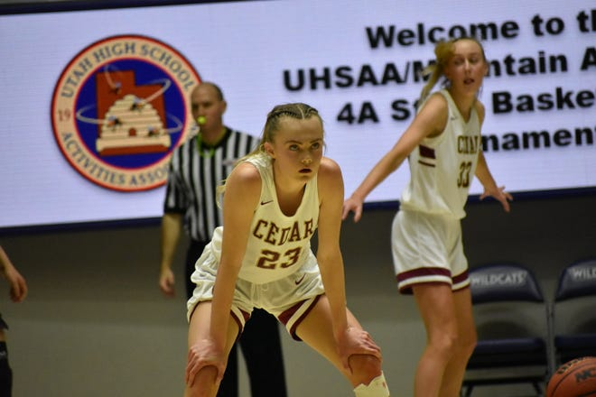 Cedar star senior Mayci Torgerson was locked into the 4A State Championship against Pine View. The Reds won 61-44 to repeat as state champions.