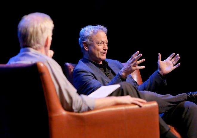 """Golden Globe and Emmy-winning actor and director Gary Sinise was the featured guest during Friday's free """"Conversations With ..."""" series in the Preus-Brandt Forum on the campus of California Lutheran University in Thousand Oaks. The event was moderated by actor, writer and director Markus Flanagan, left, who also teaches at the university."""