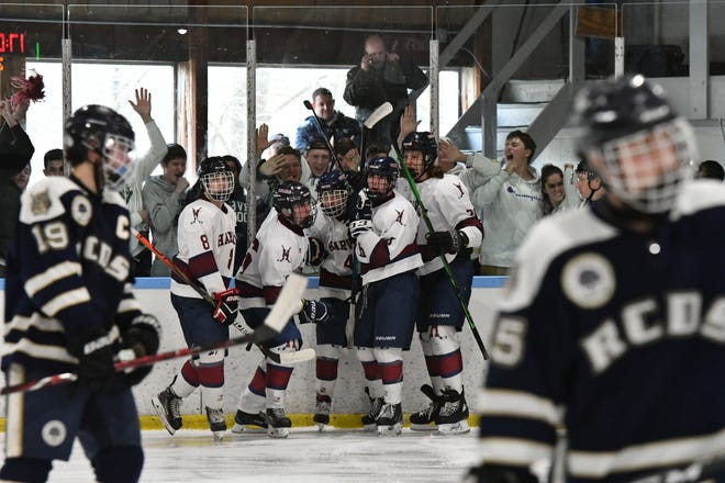 Harvey celebrates after scoring a goal during the Fairchester Athletic Association hockey championship game at Evarts Rink on Saturday, Feb. 29 2020.