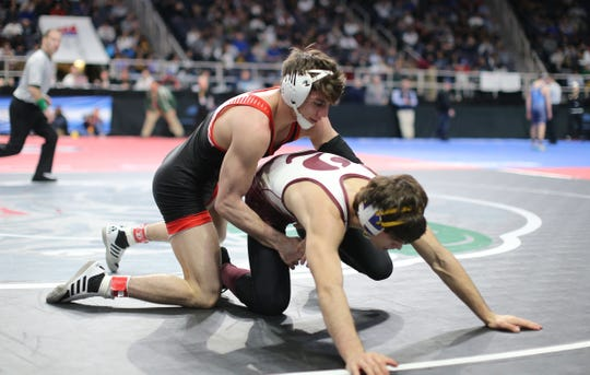 Iona Prep's AJ Kovacs wrestles in a 152-pound semifinal match at the NYSPHSAA Wrestling Championships at Times-Union Center in Albany on Saturday, February 29, 2020.