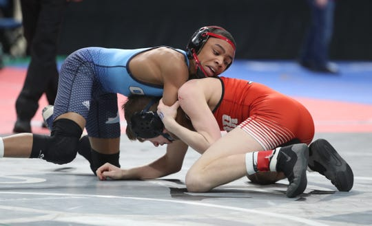 Beacon's Chris Crawford wrestles at the state tournament on Saturday in Albany.