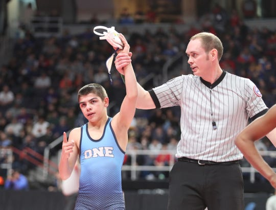 Carmel's PJ Duke wins his 99-pound semifinal match at the NYSPHSAA Wrestling Championships at Times-Union Center in Albany on Saturday, February 29, 2020.