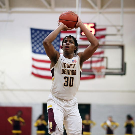 Mt. Vernon's Troy Hupstead in action against White Plains in boys basketball playoff action at Mt. Vernon High School  Feb. 28, 2020. Mt. Vernon won the game 66-56.