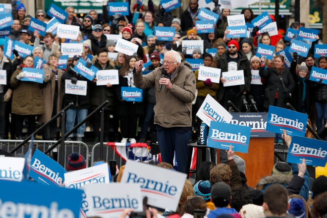 Democratic presidential candidate Sen. Bernie Sanders, I-Vt., campaigns during a rally on Boston Common, Saturday, Feb. 29, 2020, in Boston. (AP Photo/Mary Schwalm) ORG XMIT: MAMS123