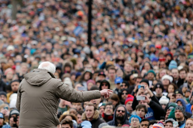 Democratic presidential candidate Sen. Bernie Sanders, I-Vt., campaigns during a rally on Boston Common, Saturday, Feb. 29, 2020, in Boston. (AP Photo/Mary Schwalm) ORG XMIT: MAMS121