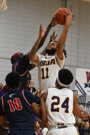 LSUA senior Chris Vickers (11) goes up for a shot against the University of the Southwest Feb. 29. The Generals earned a No. 4 seed in the NAIA Tournament and will play Menlo College March 19.