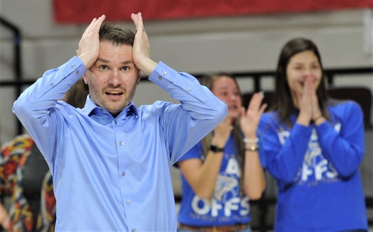 Veribest coach Chris Schlicke, left, reacts as his Lady Falcons celebrate their 27-25 victory over Hermleigh in the Region II-1A championship game Saturday, Feb. 29, 2020, at ACU's Moody Coliseum. Veribest advances to the state tournament for the first time in program history.