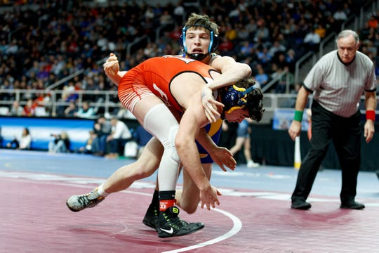 Central Valley Academy's Keagen Case wrestles Tioga's Emmett Wood during the consolation round three of the Division II NYSPHSAA Wrestling Championships on Saturday, Feb. 29, 2020 at the Times Union Center in Albany. Case defeated Wood by pin.