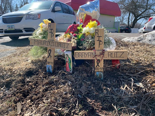 Family of Mauricio Ruiz Quintana, 26, and Brayan Martinez Ruiz, 22, have put up a memorial at Southwest Ninth and Marion streets, near where the two men were killed in a fatal crash Feb. 20, 2020.