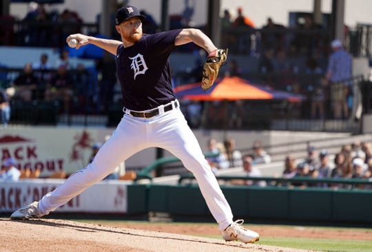Detroit Tigers' Spencer Turnbull pitches against the New York Yankees during the first inning in Lakeland, Fla. on March 1, 2020.