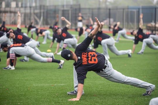 Pitcher Nick Ramirez stretches during Detroit Tigers spring training at TigerTown in Lakeland, Fla., Friday, Feb. 14, 2020.