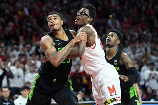 Michigan State forward Xavier Tillman Sr. and Maryland forward Jalen Smith battle for position during the second half Saturday, Feb. 29, 2020, in College Park, Md.