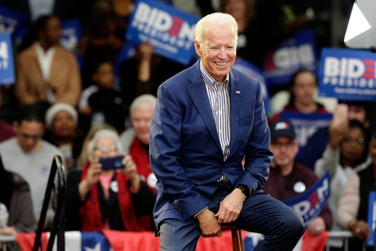 Democratic presidential candidate former Vice President Joe Biden smiles while being introduced at a campaign event at Saint Augustine's University in Raleigh, N.C., Saturday, Feb. 29, 2020.