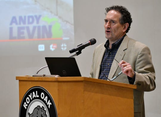 U.S. Rep. Andy Levin holds a town hall meeting about the EV Freedom Act at Royal Oak Middle School in Royal Oak, Mich. on Mar. 1, 2020.