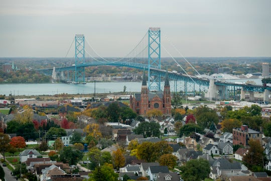 A view of the Ambassador Bridge from the Detroit side looking across the Detroit River to Canada.
